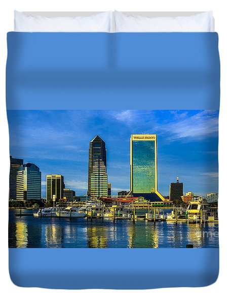 Duvet Cover featuring the photograph Jacksonville Skyline Sunset by Paula Porterfield-Izzo