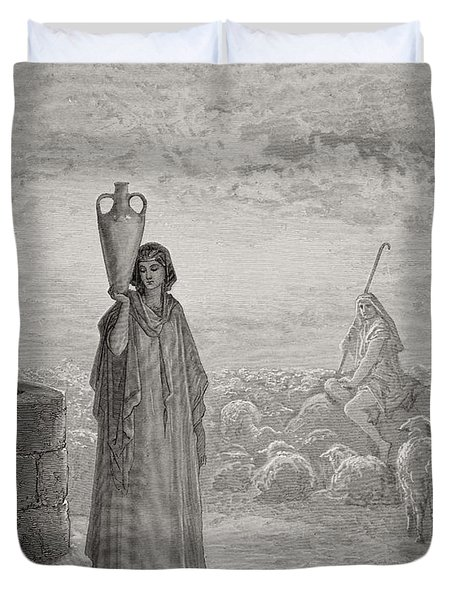 Jacob Keeping Laban's Flock Duvet Cover by Gustave Dore