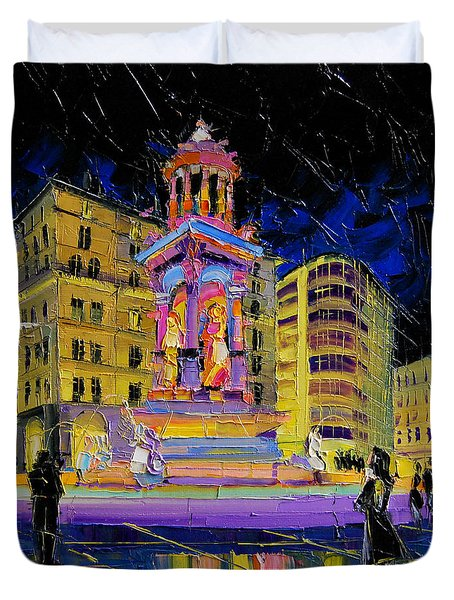 Jacobins Fountain During The Festival Of Lights In Lyon France  Duvet Cover