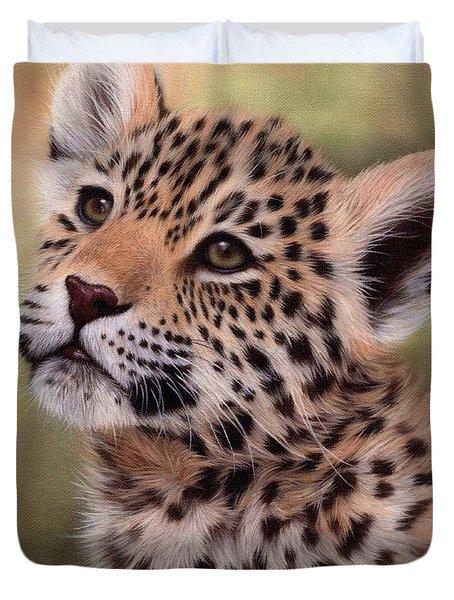 Jaguar Cub Painting Duvet Cover
