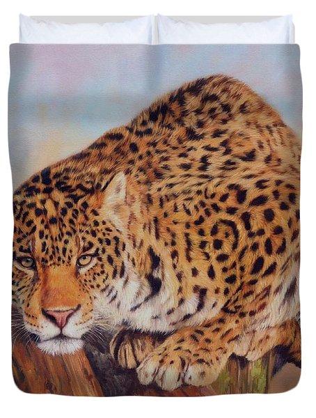 Jaguar Duvet Cover by David Stribbling
