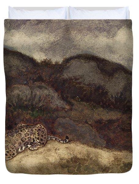Jaguar Devouring Its Prey Duvet Cover by Antoine Louis Barye