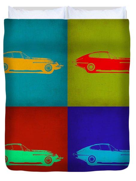 Jaguar E Type Pop Art 1 Duvet Cover by Naxart Studio