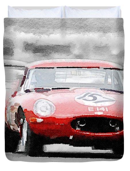 Jaguar E-type Racing Watercolor Duvet Cover