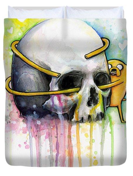 Jake The Dog Hugging Skull Adventure Time Art Duvet Cover