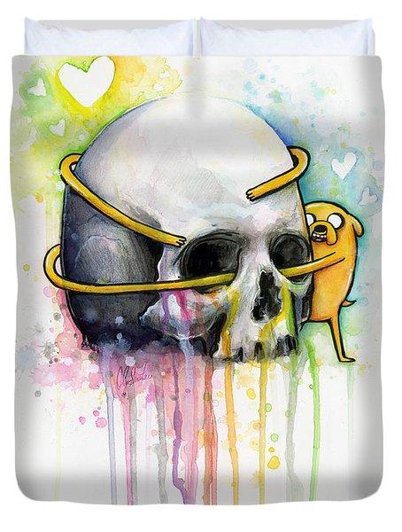 Jake The Dog Hugging Skull Adventure Time Art Duvet Cover by Olga Shvartsur