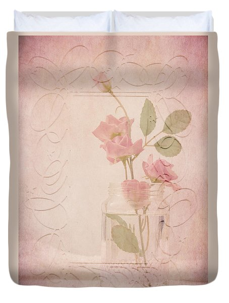 Duvet Cover featuring the photograph Jam Jar Roses  by Sandra Foster