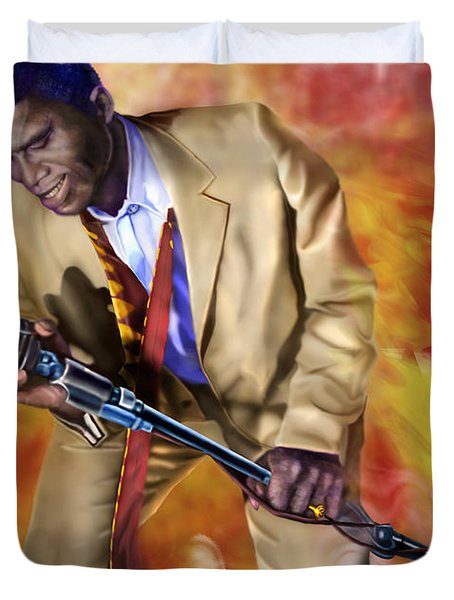 James Brown And His Famous Flames Duvet Cover by Reggie Duffie