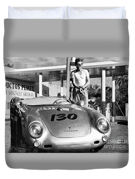 James Dean Filling His Spyder With Gas Black And White Duvet Cover