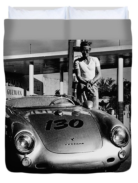 James Dean Filling His Spyder With Gas In Black And White Duvet Cover
