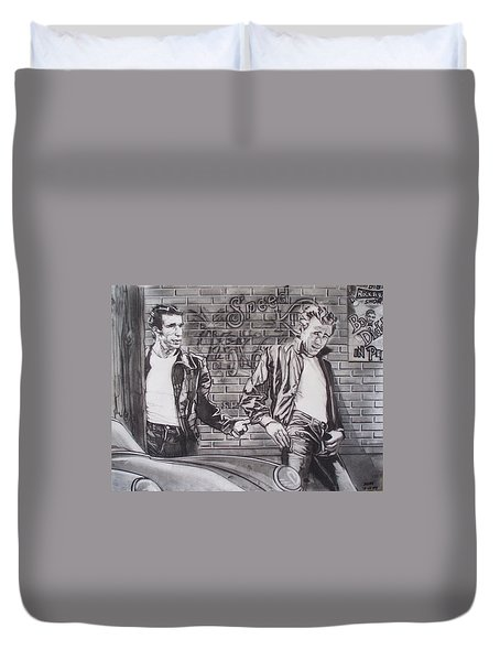 James Dean Meets The Fonz Duvet Cover by Sean Connolly