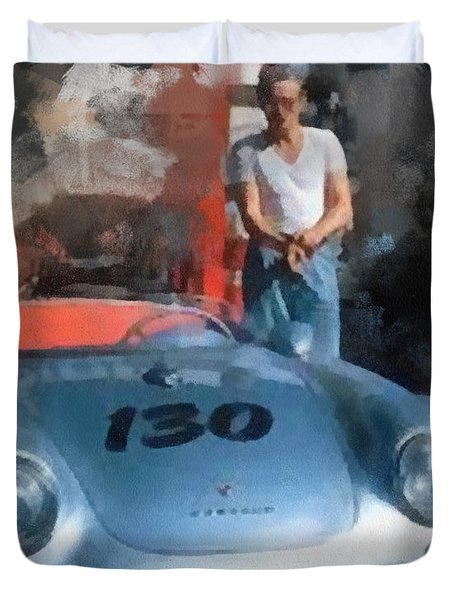 James Dean With His Spyder Duvet Cover
