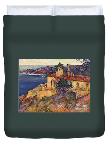 James House Carmel Highlands California By Rowena Meeks Abdy 1887-1945  Duvet Cover by California Views Mr Pat Hathaway Archives