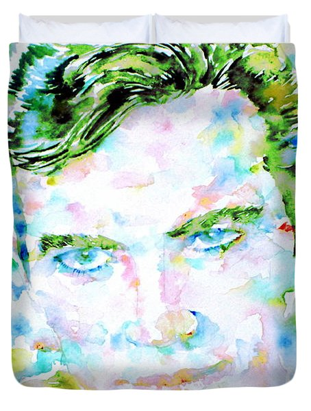 James T. Kirk - Watercolor Portrait Duvet Cover by Fabrizio Cassetta