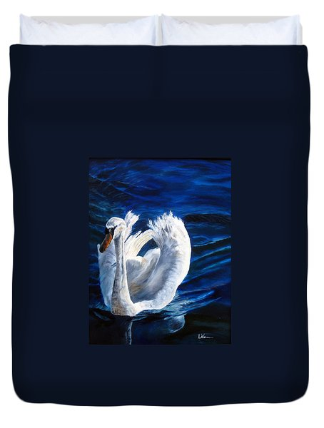 Duvet Cover featuring the painting Jamie's Swan by LaVonne Hand