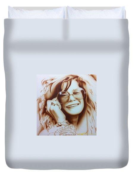 Janis Joplin - ' Janis ' Duvet Cover by Christian Chapman Art