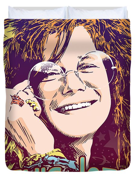Janis Joplin Pop Art Duvet Cover