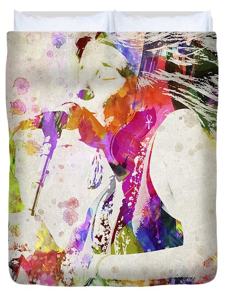 Janis Joplin Portrait Duvet Cover by Aged Pixel