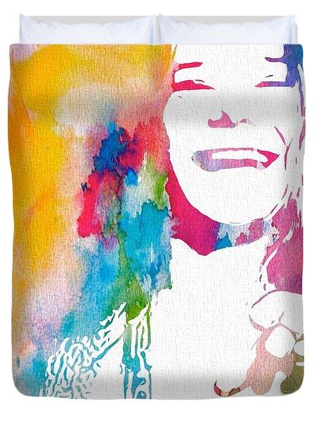 Janis Joplin Watercolor Duvet Cover