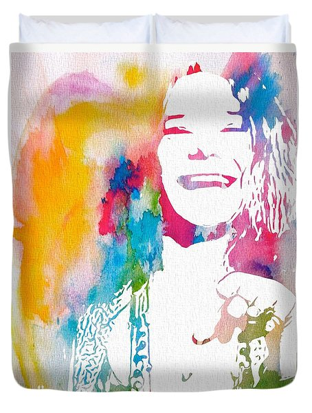 Janis Joplin Watercolor Duvet Cover