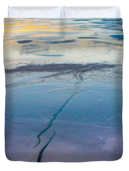 Duvet Cover featuring the photograph January Sunset On A Frozen Lake by Nina Silver