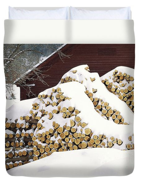 Duvet Cover featuring the photograph January Woodpile by Alan L Graham