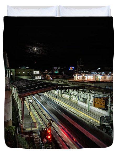 Japan Train Night Duvet Cover