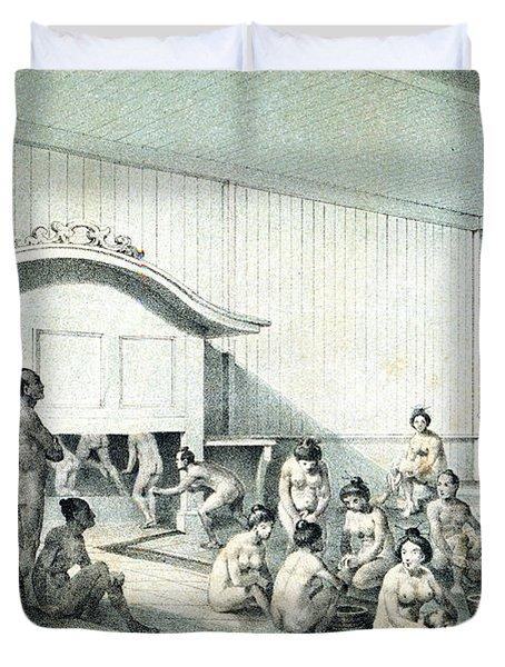 Japanese Bath, 1856 Duvet Cover