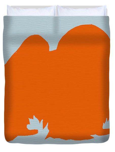 Japanese Chin Orange Duvet Cover by Naxart Studio