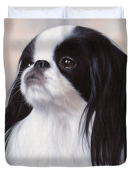 Japanese Chin Painting Duvet Cover