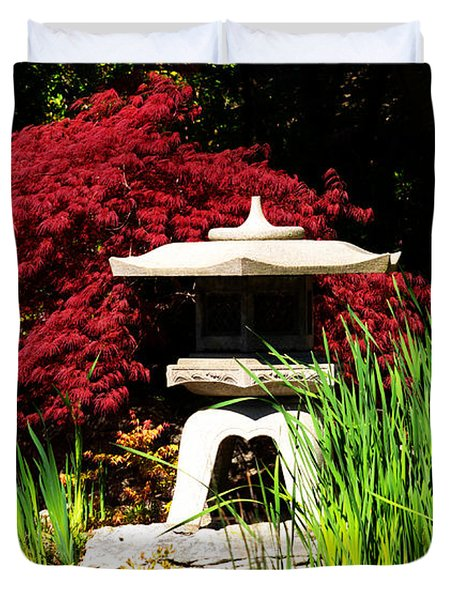 Duvet Cover featuring the photograph Japanese Garden by Angela DeFrias