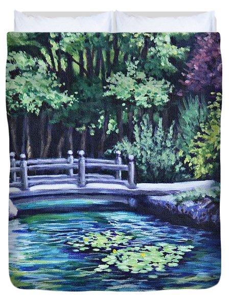 Japanese Garden Bridge San Francisco California Duvet Cover