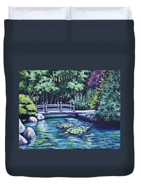 Japanese Garden Bridge San Francisco California Duvet Cover by Penny Birch-Williams