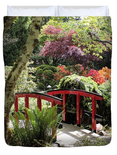 Japanese Garden Bridge With Rhododendrons Duvet Cover