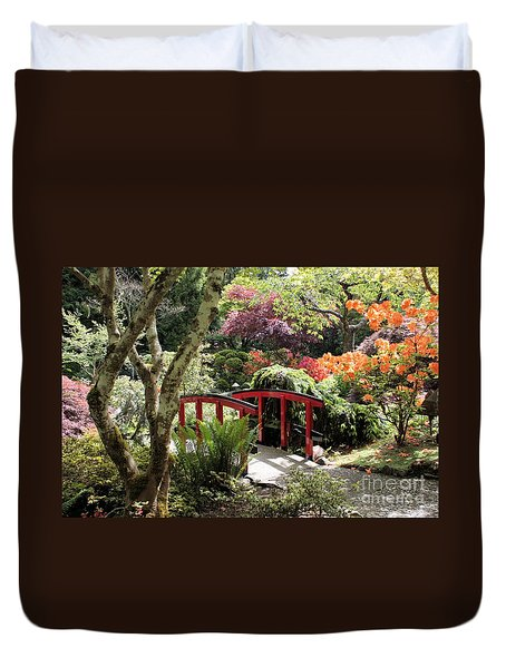 Japanese Garden Bridge With Rhododendrons Duvet Cover by Carol Groenen