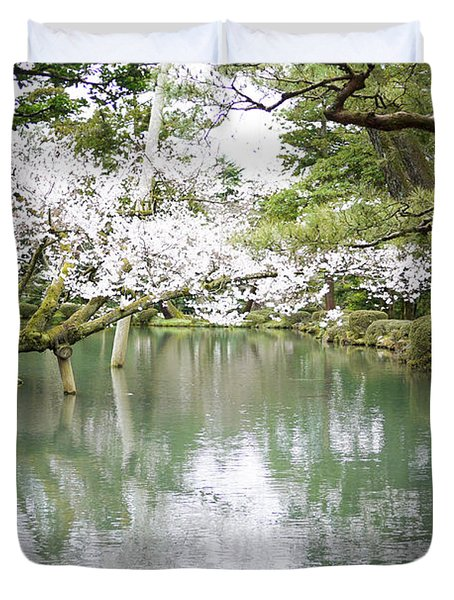 Japanese Garden  Duvet Cover by Moshe Torgovitsky