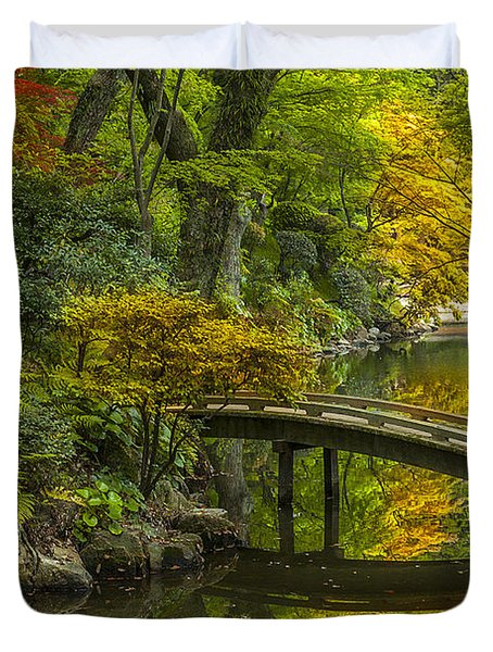 Duvet Cover featuring the photograph Japanese Garden by Sebastian Musial