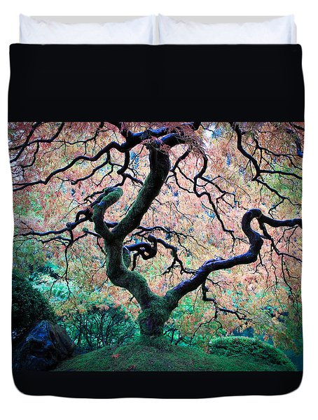 Japanese Maple In Autumn Duvet Cover by Athena Mckinzie