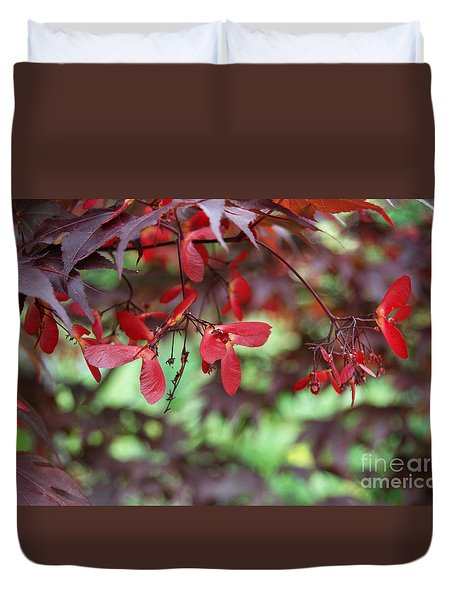 Duvet Cover featuring the photograph Japanese Maple Tree by Eva Kaufman