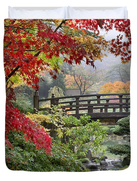 Japanese Maple Trees By The Bridge In Fall Duvet Cover