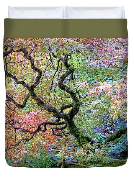 Duvet Cover featuring the photograph Japanese Maple by Wendy McKennon