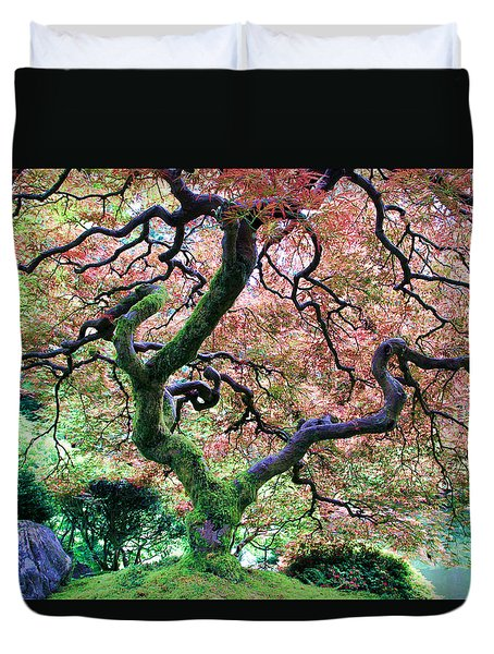 Japanese Tree In Garden Duvet Cover by Athena Mckinzie