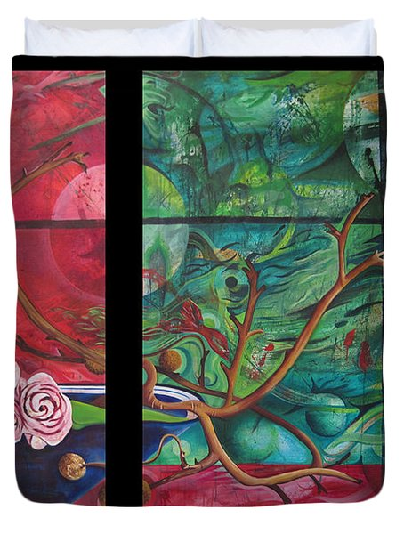 Duvet Cover featuring the painting Japanesse Flower Arrangment by Joshua Morton
