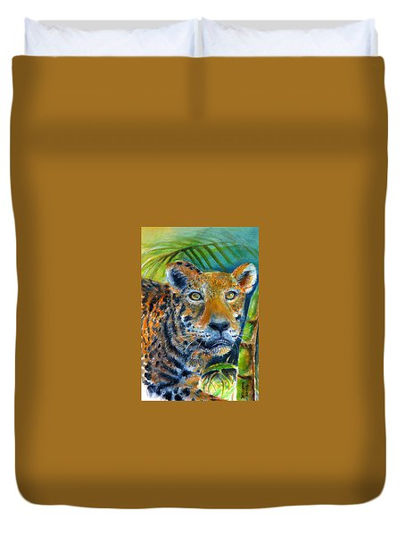 Duvet Cover featuring the painting Jaquar On The Prowl by Bernadette Krupa