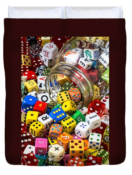 Jar Of Colorful Dice Duvet Cover by Garry Gay