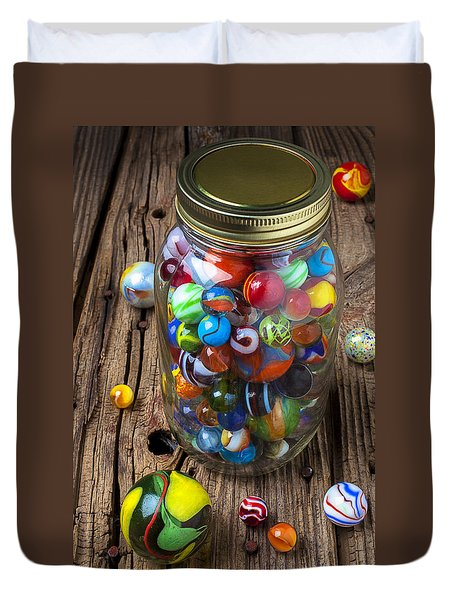 Jar Of Marbles With Shooter Duvet Cover by Garry Gay