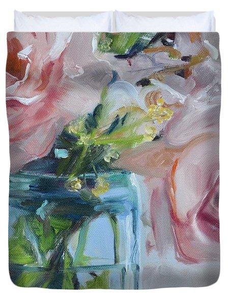 Jar Of Pink Duvet Cover by Donna Tuten