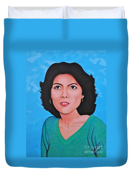 Duvet Cover featuring the painting Jasmina by Cyril Maza