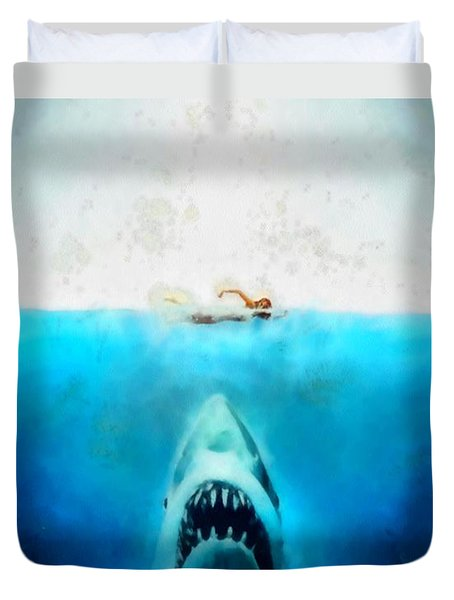 Duvet Cover featuring the painting Jaws by Elizabeth Coats