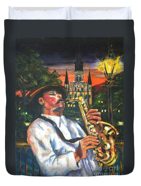 Jazz By Street Lamp Duvet Cover